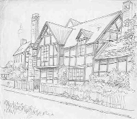 Possibly Orleton House as drawn by E. W. Green